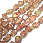 1 Strand of Semiprecious Gemstone Large Nugget Beads - Chinese Unakite